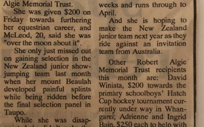 $1100 given to sports people – Newspaper Article 10/09/91