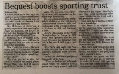 Bequest Boosts Sporting Trust – History Archive 2005